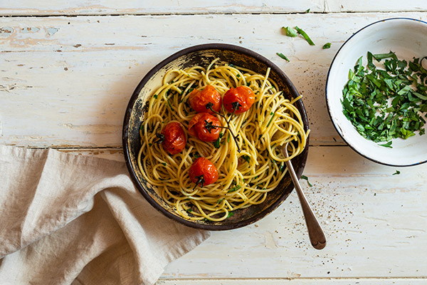 Blistered cherry tomato pasta, Food Photography, Guy Adamson, Sydney Photographer